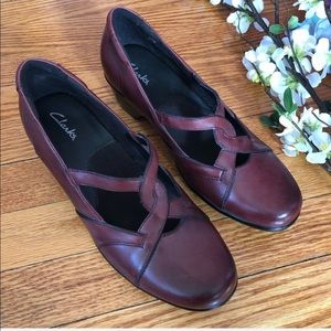 Clarks Burgundy Leather Twist Strap Mary Jane Shoe